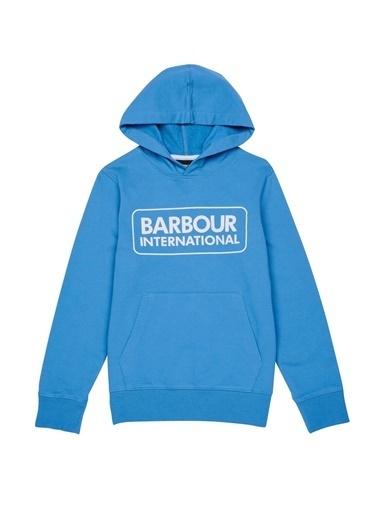 Barbour Erkek Çocuk Büyük Logo Kapüşonlu Sweat Pure Blue Mavi